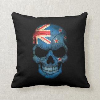 New Zealand Flag Skull on Black Throw Pillow
