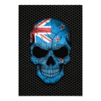 New Zealand Flag Skull on Steel Mesh Graphic 9 Cm X 13 Cm Invitation Card