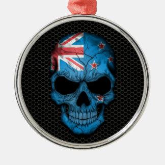 New Zealand Flag Skull on Steel Mesh Graphic Christmas Ornament