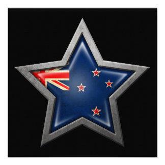 New Zealand Flag Star on Black Announcement