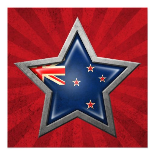 New Zealand Flag Star with Rays of Light Personalized Announcements