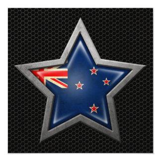 New Zealand Flag Star with Steel Mesh Effect Custom Invites