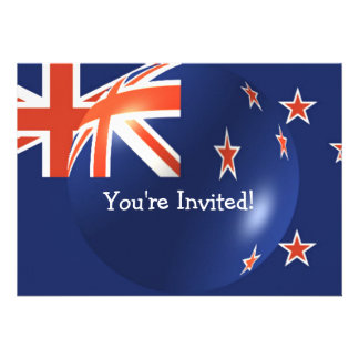 New Zealand Flag With Bubble Invitation