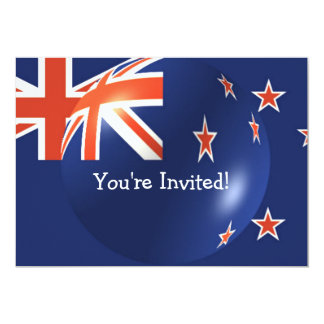 New Zealand Flag With Bubble Invitation