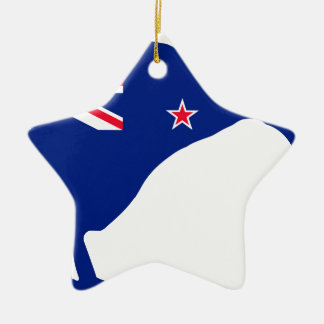New Zealand Flag With Kiwi SIlhouette Christmas Ornament