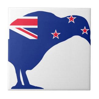 New Zealand Flag With Kiwi SIlhouette Tile