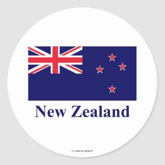 New Zealand Flag with Name Classic Round Sticker