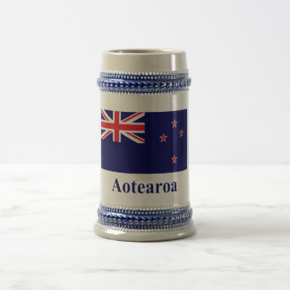 New Zealand Flag with Name in Maori Beer Steins