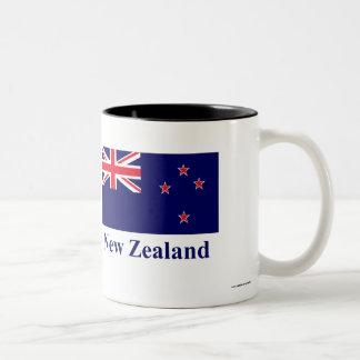 New Zealand Flag with Name Two-Tone Coffee Mug