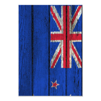 New Zealand Flag with Rough Wood Grain Effect Personalized Announcement