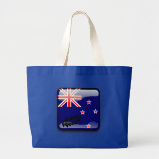 New Zealand glossy flag Large Tote Bag
