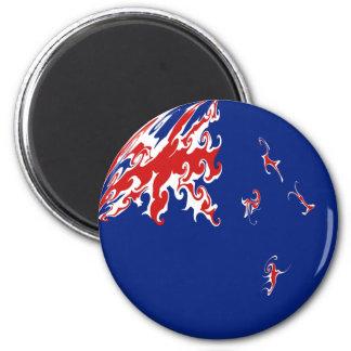 New Zealand Gnarly Flag Refrigerator Magnets