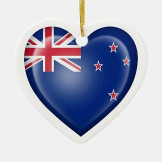 New Zealand Heart Flag on White Christmas Ornament