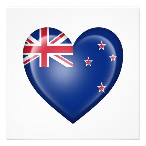 New Zealand Heart Flag on White Invitations