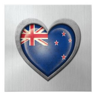 New Zealand Heart Flag Stainless Steel Effect Custom Invites