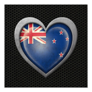 New Zealand Heart Flag Steel Mesh Effect Custom Announcements
