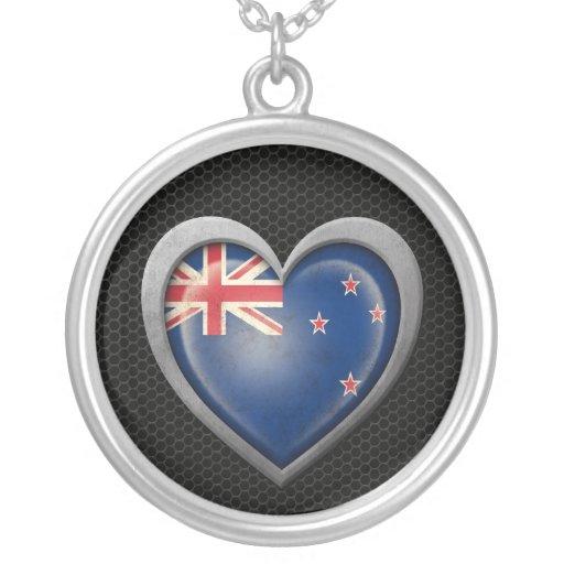 New Zealand Heart Flag Steel Mesh Effect Custom Necklace