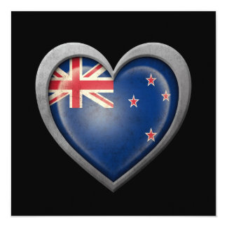 New Zealand Heart Flag with Metal Effect 13 Cm X 13 Cm Square Invitation Card