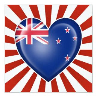 New Zealand Heart Flag with Star Burst Custom Invitation