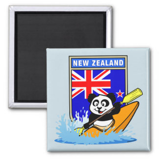 New Zealand Kayaking Panda Square Magnet