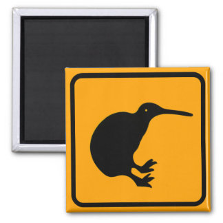 New Zealand Kiwi Icon Yellow Diamond Warning Sign Square Magnet