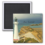 New Zealand Landscape with Lighthouse Square Magnet