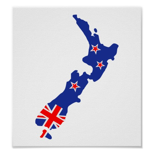 New Zealand map flag Poster