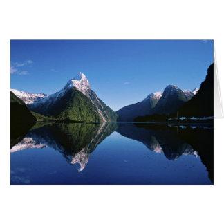 New Zealand Mitre Peak Milford Sound Greeting Cards