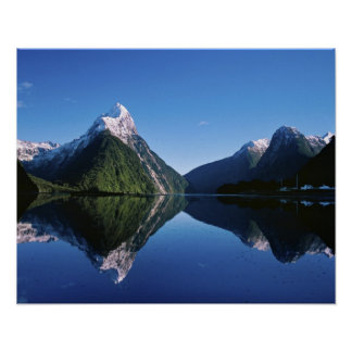 New Zealand, Mitre Peak, Milford Sound, Poster