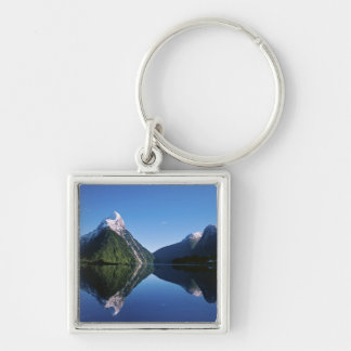 New Zealand, Mitre Peak, Milford Sound, Silver-Colored Square Key Ring