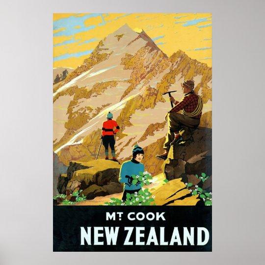 New Zealand ~ Mount Cook ~ Vintage Travel Canvas. Poster