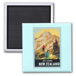 New Zealand ~ Mount Cook ~ Vintage Travel Square Magnet