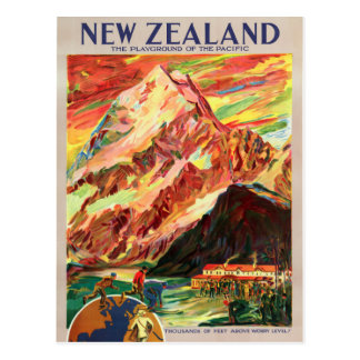 New Zealand Mt. Cook Vintage Travel Poster Postcard