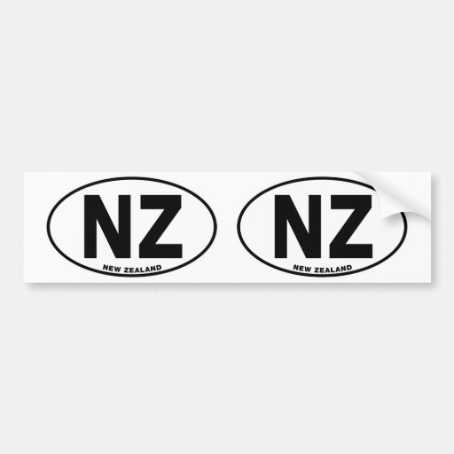 New Zealand NZ Oval ID Identification Code Initial Bumper Stickers