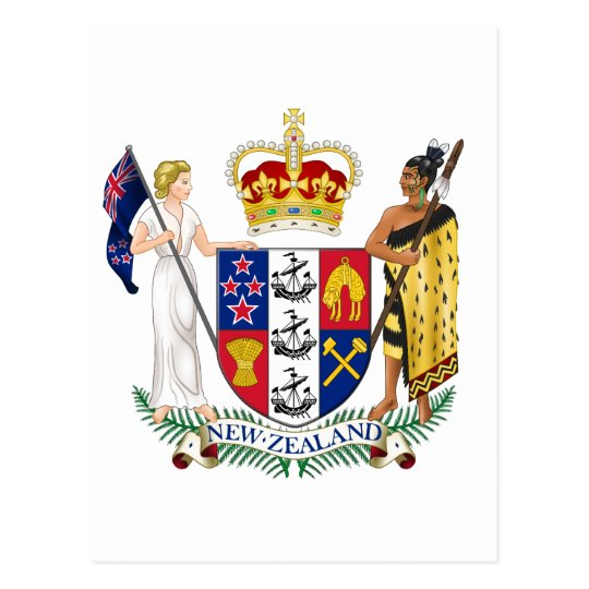 New Zealand Official Coat Of Arms Heraldry Symbol Postcard