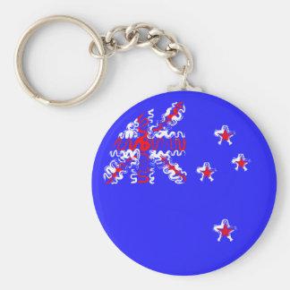 New Zealand on Blue Keychain