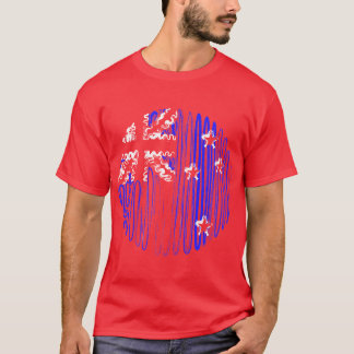 New Zealand on Red Tee Shirt