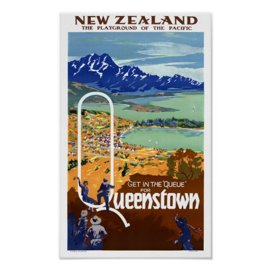 New Zealand Queenstown Vintage Travel Poster