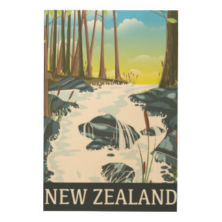 New Zealand River travel poster Wood Prints