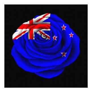 New Zealand Rose Flag on Black Personalized Invites