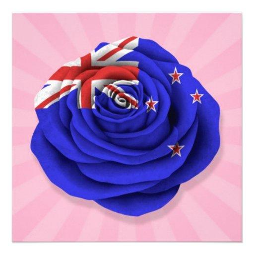 New Zealand Rose Flag on Pink Custom Invite