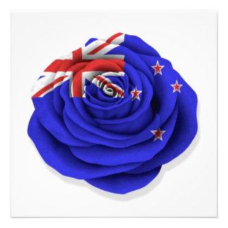 New Zealand Rose Flag on White Personalized Invites