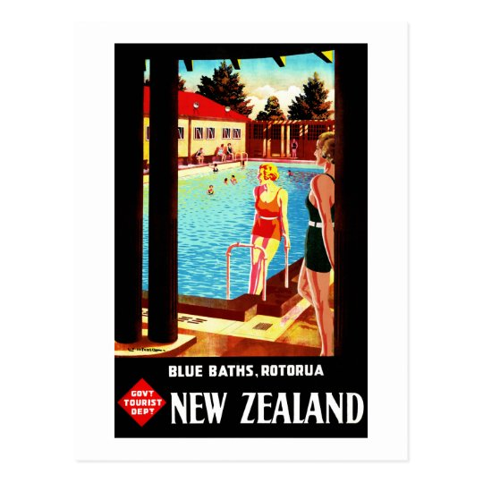 New Zealand Rotorua Vintage Poster Restored Postcard