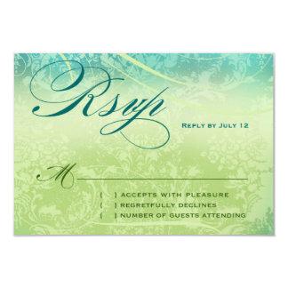NEW ZEALAND RSVP Vintage Blue Green Linen Paper 9 Cm X 13 Cm Invitation Card