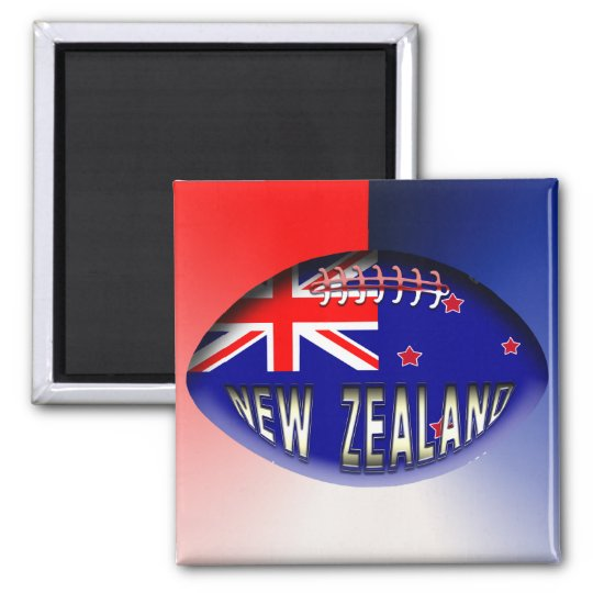New Zealand Rugby Ball Square Magnet