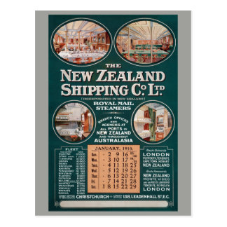 New Zealand Shipping Co. Vintage Poster Postcard