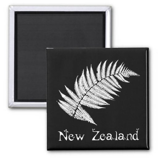 New Zealand Silver Fern Square Magnet
