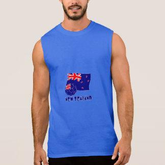 New Zealand Soccer Ball and Flag Sleeveless T-shirt