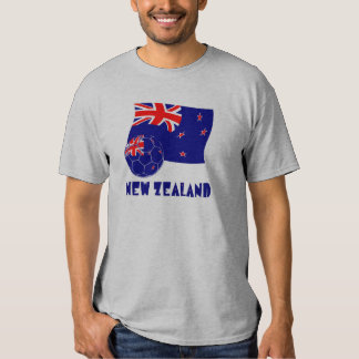 New Zealand Soccer Ball and Flag T Shirts