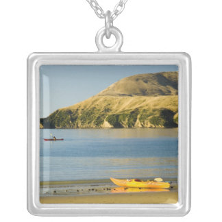 New Zealand, South Island, Marlborough Sounds. 2 Square Pendant Necklace